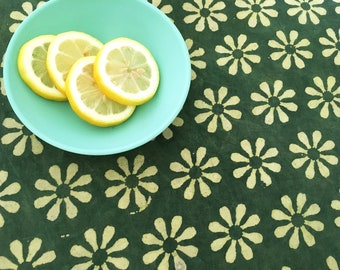 Hand Block Printed Cotton Fabric from India - Resist dyed Fabric - By the Yard - Natural Vegetable Dye