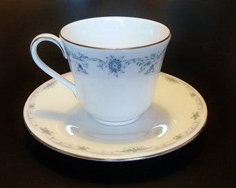 Royal Doulton Angelique Vintage Teacup and Saucer. White English Fine Bone China with Small Blue Flowers. 1960s. Afternoon Tea.