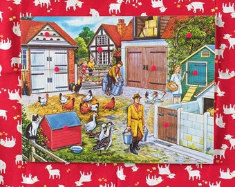 Wooden vintage 1977 farm jigsaw puzzle.pictures underneath!illustration.fun. childrens game.nursery decor.chickens,ducks,cat.houses.Animals