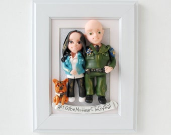 Gift for Sheriff  Unique Clay Portrait Gift for Fiancé for Fiancée Personalized 3D Clay Portrait Engaged Gift Pet Portrait