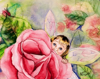 FANTASY - ORIGINAL WATERCOLOR; baby fairy,rose, Free Shipping, wall art, original art, child's room, shower gift,