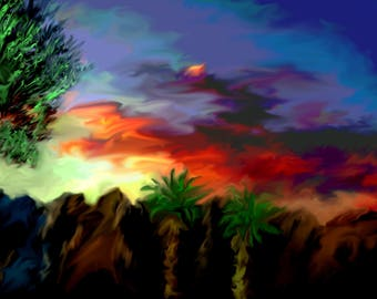 """4 Boxed Note Cards """"Sunset over Tera Lago"""""""