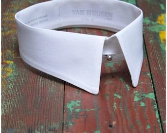Vintage collar, Gentlemen false collar, Men's white cotton, soft detachable shirt collar, Stand- Fall collar,Van Heusen style 11, 15.5