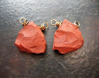 Hammered Matte Red Jasper Triangle Bead Connectors - 1 pair - 20mm