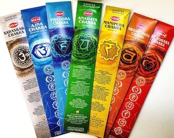 Chakra Incense - Seven Chakras Incense Sticks handmade for Chakra Balancing, Aromatherapy, Meditation, Air Purification by Hem