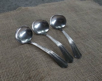 3 Silver Plate Ladles Vintage Serving Flatware SEARS Flatware Cottage Chic Set of 3
