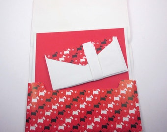 Vintage Stationery Set in Original Folder with Scotty or Scottie and Westie Dogs