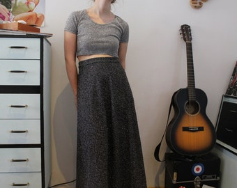 Vintage 1990's Silver Crop Top & Maxi Skirt Set (Size 6 - 8 (UK))