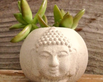 Buddha Head Planter, Succulent planter,Cacti planter, concrete Buddha head planter, Concrete Cement Home and Garden Decor, wedding gift,