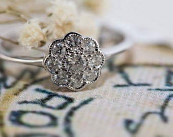 Victorian style daisy cluster diamond ring in white gold or yellow gold - Traditional engagement ring
