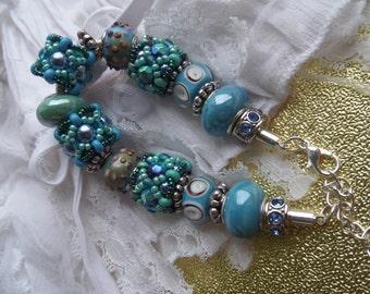 Turquoise Bracelet, European Style Turquoise Ceramic Lampwork Beaded Beads Bracelet, Women's Beaded Bracelet, Blue Tuquoise Beaded bracelet