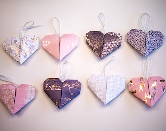 4x Origami Heart Christmas Tree Decorations - Rose Gold