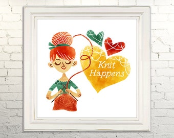KNIT HAPPENS Printable Art print Instant Download jpg Digital Illustration Knitting Crotchet Crafting Yarn Heart Love Sewing Decor Poster