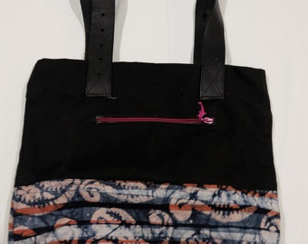 Pink, White Swirls with Black Canvas Tote Bag with Leather Straps