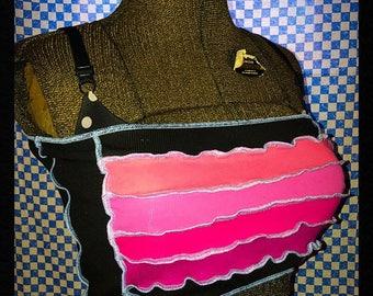 Pinks and Black Tube Top Bikini Cover