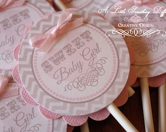 Gray and Pink Cupcake Toppers / Cupcake Decor / Cupcake Sticks / Gray and Pink / Chevron / Baby Girl / Baby Shower / Birthday
