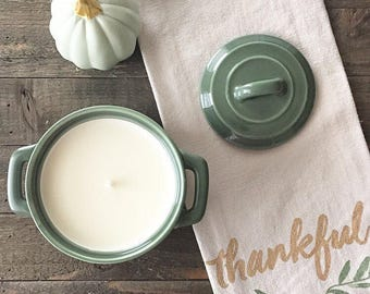 Green Ceramic Crock Candle