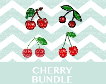 Cherry SVG Bundle, Fruit Silhouette SVG, Cherry Clipart, Cutting Files for Silhouette Cameo, Svg Designs, cherries clipart Svg Png, cherries