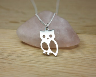Silver Owl Pendant Necklace, Sterling silver
