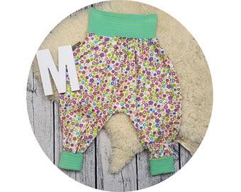 Baby pants, Jersey pants, Mitwachsen pants, harem trousers, harem pants, baby pants, ditzy, flowers, funky flowers
