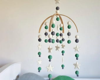 Persian & Stars Baby Mobile, Felt Ball Mobile, Cot Mobile, Nursery Mobile, Crib Mobile, Custom Made Mobile, Pom Pom Mobile, Baby Shower