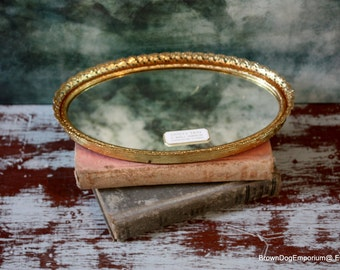 Vintage vanity mirror // vintage decor // small gold filigree mirror
