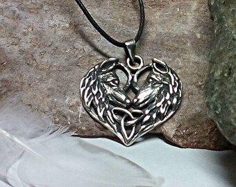 Wolf Pendant Entwined Twin Soul Triquetra Wolf Amulet Heart Shape with Celtic Knotwork - wolf totem spirit animal .