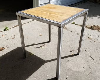 End table Steel and oak