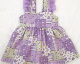 Purple Floral Ruffled Pinafore Dress/ Floral Pinafore Dress/ Baby Dress/ Girl Dress/ Summer Girl Dress/ Purple Dress/ Purple Baby Dress