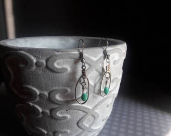 Oval Drop Earrings | Teal and White |