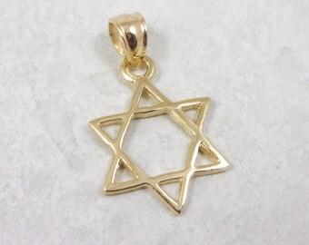 Solid 10K Yellow Gold Star of David Cross Pendant, 1.2 grams, Jewish