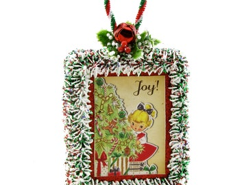 Retro Little Girl Ornament or Door Hanger. Vintage Image of Little Girl, Sprig of Holly, Jingle Bell Fab Holiday Decor