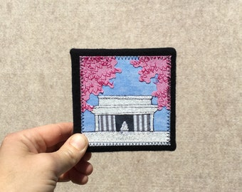 Mini Lincoln Memorial with Cherry Blossoms, 4x4 inches, original sewn fabric artwork, handmade, freehand appliqué, ready to hang canvas