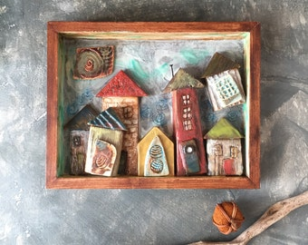 Houses Encaustic Painting | Little Village Painting | Shadowbox Frame with Original Art | Mixed Media Encaustic with Handmade Ceramic Tiles