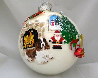 Hand Painted Ornament-Dog, Santa, Fireplace W/3D Effect-item 865