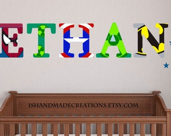 super hero decal Repositionable Wall Decal  Personalized Initial Name  Wall Decal perfect decoration for nursery or playroom baby  gift