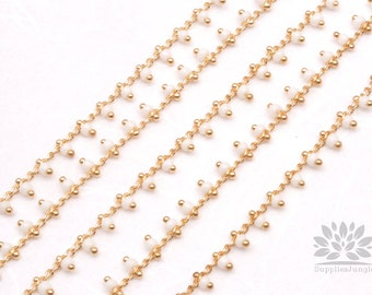 C300-WH// Gold Plated White Beads Chain, 50cm