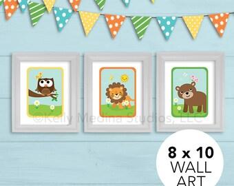 Woodland Animals Nursery Art Print Set, 8 x 10, Kids, Baby/Children Wall Art - Blue, Brown, Green Woodland Animals Wall Art by Kelly Medina