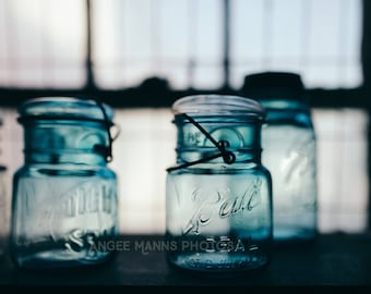 Still Life Photography, Blue Mason Jars, Kitchen Decor, Rustic Decor