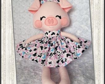 Handmade Rag Doll, Fabric Doll, Piggy READY TO SHIP