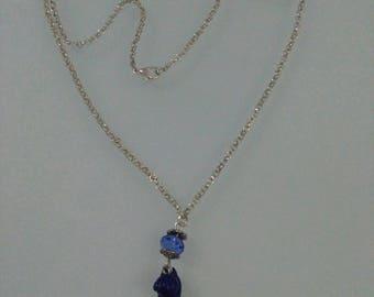 Blue Kitten Necklace