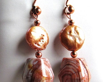 Earrings of Botswanan Agate, Coin Pearls and Copper Beads on Copper Teardrop Ear Wires