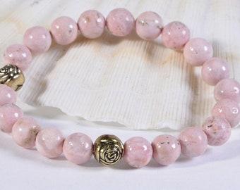 Peruvian Opal Bracelet Pink Opal Bracelet Birthstone Bracelet Gemstone Pink Bracelet