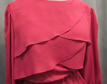 SALE!!!! 1970s Magenta Chiffon Dress, Scalloped Detail At Top, By Star Shine