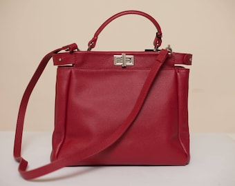 Red Big Top Handle Leather Bag