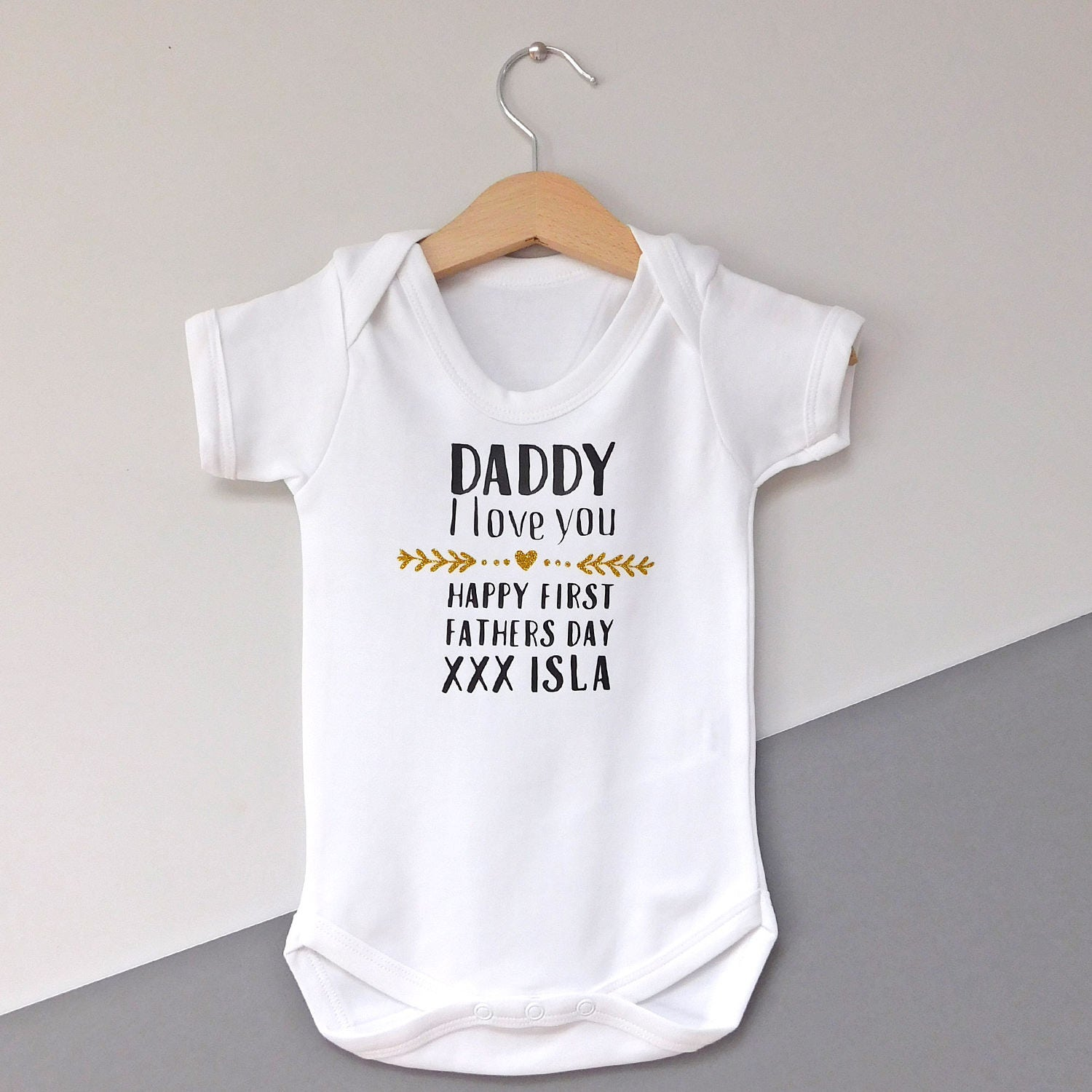Happy First Father s Day Baby Vest Personalised Baby