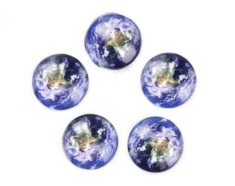 10 Stück Kreis Planeten Erde Welt Sonnensystem Universum Runde Kuppel Dichtungen Fliesen Glascabochons - 10mm (3/8 Zoll)