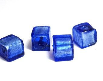 5x Silver Foil Glass Cube Beads 8mm - Blue