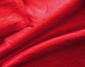 Red silk dupioni fabric-Cherry, 1/2 yard increments