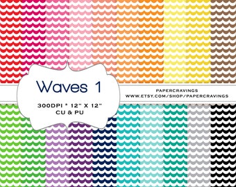 """Waves Wavy Digital Paper Pack 12"""" x 12 Nautical Preppy Commercial and Personal Use royalty free rainbow printable 20 sheets INSTANT DOWNLOAD"""